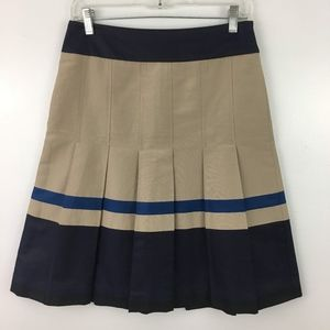 Ann Taylor Aline Pleated Striped Colorblock Skirt